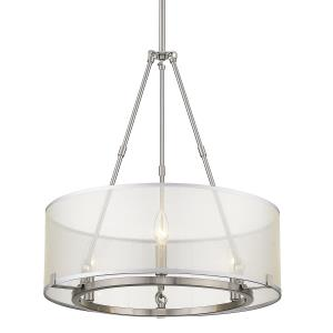 Alyssa Chandelier 3 Light  Steel Sterling Mist Fabric