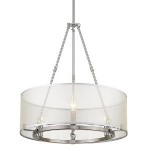 Alyssa Long Rod Chandelier 3 Light  Steel Sterling Mist