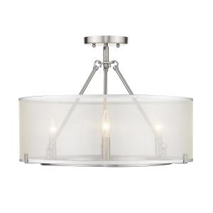Alyssa Short Rod Chandelier 3 Light  Steel Sterling Mist