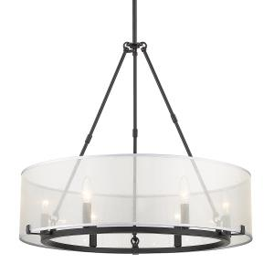 Alyssa Chandelier 6 Light  Steel Sterling Mist Fabric