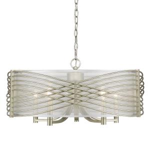 Zara Chandelier 5 Light  Steel Sheer Opal Fabric