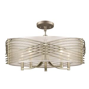 Zara - 5 Light Semi-Flush in White Gold in Geometric style - 15.25 Inches high by 25.63 Inches wide