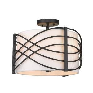 Zara - 3 Light Semi-Flush Mount in Classic style - 10.88 Inches high by 14.38 Inches wide