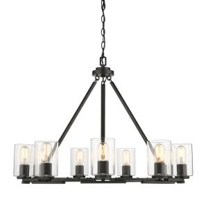 Monroe - Chandelier 9 Light Steel in Sturdy style - 23.25 Inches high by 32.5 Inches wide
