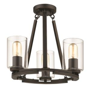 Monroe - Convertible Semi-Flush in Black with Gold Highlights and Clear Glass
