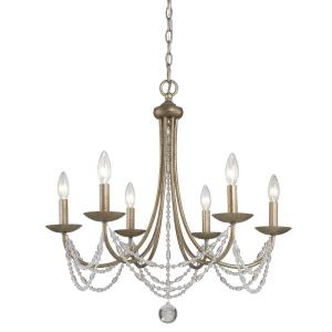 Mirabella - Chandelier 6 Light Steel in Elegance style - 26 Inches high by 25.5 Inches wide