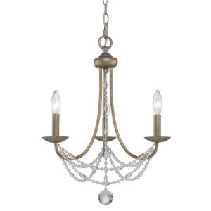 Mirabella - Mini Chandelier 3 Light Steel in Elegance style - 21.5 Inches high by 18 Inches wide