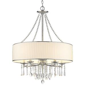 Echelon - Chandelier 5 Light Steel/Crystal Bridal Veil in Geometric style - 34 Inches high by 26.25 Inches wide