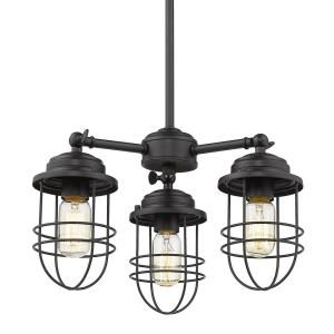 Seaport Chandelier 3 Light  Steel Black Steel