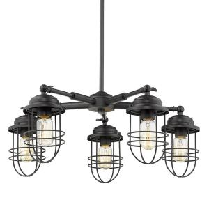 Seaport Chandelier 5 Light  Steel Black Steel