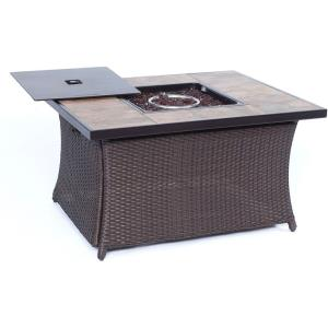 "Woven - 43.82"" Coffee Table Fire Pit with Porcelain Tile Top and Lid"