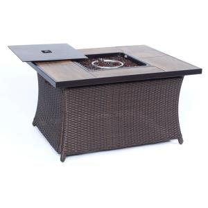"Woven - 43.82"" Coffee Table Fire Pit with Wood Grain Tile Top and Lid"
