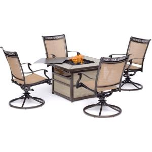 Fontana - 5 Piece Square Kd Fire Pit with 4 Slin Swivel Rockers Chairs