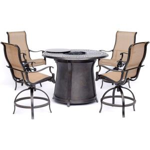 Manor - 5 Piece High- Dining Set with 4 Swivel Chairs and Fire Pit Table