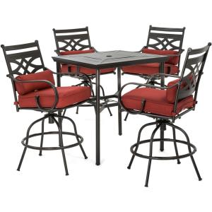 "Montclair - 33"" 5-Piece High-Dining Patio Set with 4 Swivel Chairs and 33"" Counter-Height Dining Table"