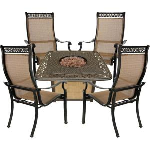 """Monaco - 41.81"""" 5-Piece Fire Pit Chat Set with 4 Sling Dining Chairs and 30,000 BTU Cast-Top Propane Fire Pit Coffee Table"""
