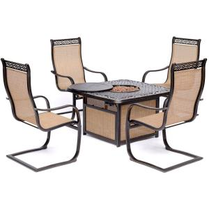 """Monaco - 41.81"""" 5-Piece Fire Pit Chat Set with 4 Sling C-Spring Chairs and 40,000 BTU Cast-Top Propane Fire Pit Coffee Table"""