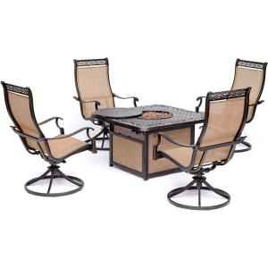 """Monaco - 41.81"""" 5-Piece Fire Pit Chat Set with 4 Sling Swivel Rockers and 40,000 BTU Cast-Top Propane Fire Pit Coffee Table"""