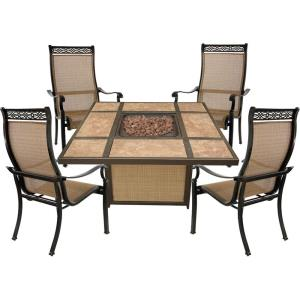 """Monaco - 44.88"""" 5-Piece Fire Pit Chat Set with 4 Sling Chairs and 40,000 BTU Tile-Top Propane Fire Pit Coffee Table"""