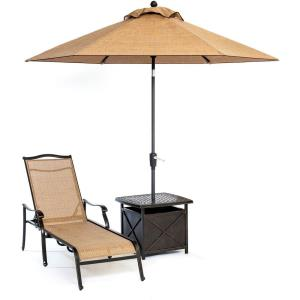 Monaco - 3pc Chaise Lounge Chair with Side Table and Umbrella