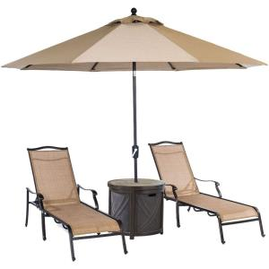 """Monaco - 82.87"""" 4-Piece Lounge Set with 2 Sling Chaise Lounge Chairs, Round Tile-Top Side Table, and 9-Ft. Tilt Umbrella"""