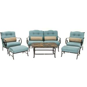 "Oceana - 58.5"" 6-Piece Seating Set with Stone Top Coffee Table"