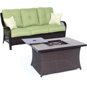 "Orleans - 74.8"" 2-Piece Seating Set with Wood Tile Top with Fire Pit"