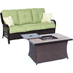 "Orleans - 74.8"" 2-Piece Seating Set with Stone Tile Top with Fire Pit"