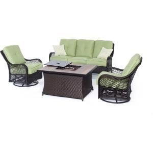 "Orleans - 74.8"" 4-Piece Seating Set with Wood Tile Top with Fire Pit"