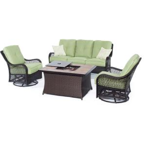 "Orleans - 74.8"" 4-Piece Seating Set with Stone Tile Top with Fire Pit"