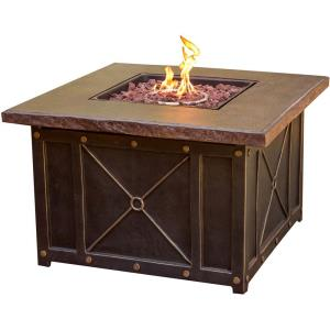 "Summer Night - 40"" Gas Fire Pit with Durastone Top"