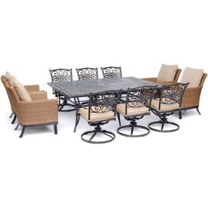 "Traditions - 84"" 11-Piece Dining Set with 4 Woven Armchairs, 6 Swivel Rockers, and 60"" x 84"" Cast-Top Table"