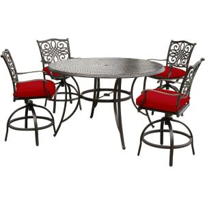 "Traditions - 56"" 5-Piece High-Dining Set with Four Swivel Chairs and 56"" Cast-top Table"