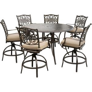 "Traditions - 56"" 7 Piece Dining Bar Set with 6 Countr Hght Swivel Chairs"