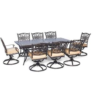 "Traditions - 84"" 9-Piece Dining Set with Swivel Rockers"