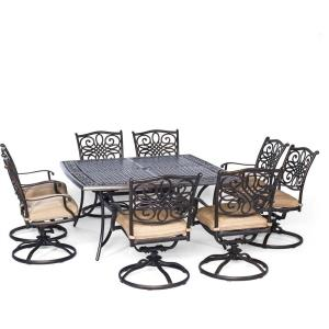 "Traditions - 60"" 9-Piece Square Dining Set with Swivel Rockers"