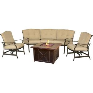 "Traditions - 97.64"" 4-Piece Durastone Fire Pit Seating Set"
