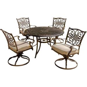 "Traditions - 48"" 5-Piece Dining Set with Swivel Rocker"