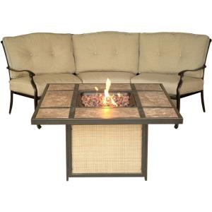 "Traditions - 97.64"" 2-Piece Lounge Set with Tile-Top Fire Pit"