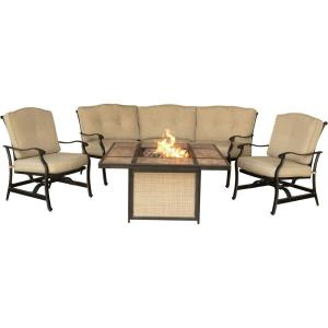 "Traditions - 44.88"" 4-Piece Outdoor Lounge with Tiled Top Fire Pit"