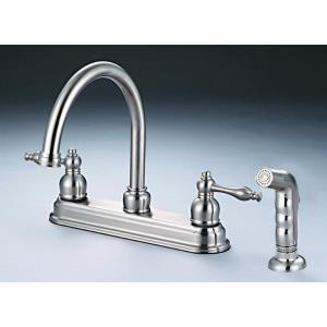 "13.31"" Double Handle Kitchen Faucet with Spray"