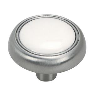 1.25 Inch Round Cabinet Knob with Porcelain Insert