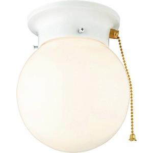 One Light Flush Mount with Pull Chain