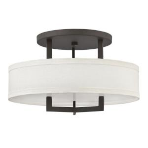 Hampton - 3 Light Medium Semi-Flush Mount in Transitional Style - 20 Inches Wide by 12 Inches High