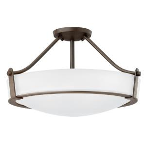 "Hathaway - 12.75"" Olde Bronze Foyer with White Etched Glass"