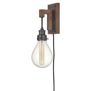 Denton - 1 Light Plug-in Wall Sconce in Rustic, Industrial, Scandinavian Style - 5.25 Inches Wide by 15.75 Inches High