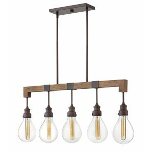 Denton - 5 Light Linear Chandelier in Rustic, Industrial, Scandinavian Style - 36 Inches Wide by 15.5 Inches High