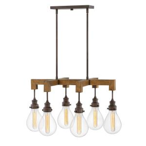 Denton - 6 Light Medium Linear Chandelier in Rustic, Industrial, Scandinavian Style - 29.75 Inches Wide by 16.25 Inches High