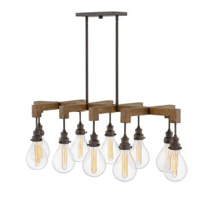 Denton - 10 Light Large Linear Chandelier in Rustic, Industrial, Scandinavian Style - 48.5 Inches Wide by 16.25 Inches High