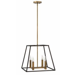 Fulton - 4 Light Medium Open Frame Pendant in Transitional, Industrial Style - 18 Inches Wide by 16.25 Inches High
